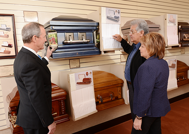 Burial caskets and vaults